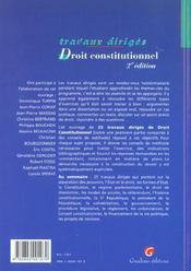 T.d. droit constitutionnel - 4ème de couverture - Format classique