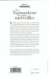 Le Topinambour & Autres Merveilles - 4ème de couverture - Format classique