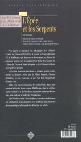 L'epee et les serpents - 4ème de couverture - Format classique