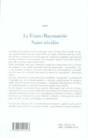 La Franc-Maconnerie Noire Revelee - 4ème de couverture - Format classique