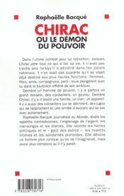 Chirac Ou Le Demon De Pouvoir - 4ème de couverture - Format classique