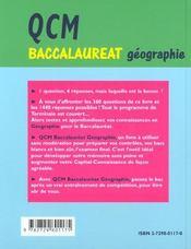 Qcm De Geographie Tout Le Programme En 360 Questions A Choix Multiples - 4ème de couverture - Format classique