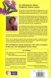 La Menopause Mieux Vecue Mieux Comprise - 4ème de couverture - Format classique