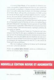 Bref examen critique du nouvel ordo missae - 4ème de couverture - Format classique