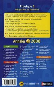 Annales ABC du bac ; sujets & corrigés ; physique ; terminale S ; enseignement obligatoire et de spécialité ; bac 2008 - 4ème de couverture - Format classique