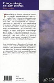 François Arago, un savant généreux ; physique et astronomie au XIXe siècle - 4ème de couverture - Format classique