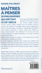 Maîtres à penser ; 20 philosophes qui ont fait le XX siècle - 4ème de couverture - Format classique