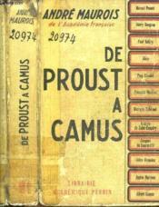 De Proust à Camus. - Couverture - Format classique