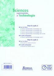 Sciences expérimentales et technologie ; cycle 3 ; livre du maître (édition 2002) - 4ème de couverture - Format classique