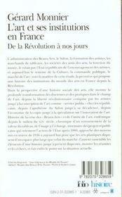L'art et ses institutions en France ; de la Révolution à nos jours - 4ème de couverture - Format classique