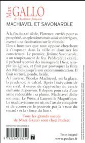 Machiavel et Savonarole - 4ème de couverture - Format classique