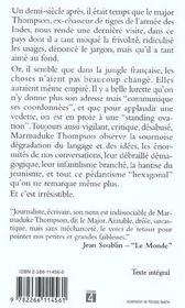 Les Derniers Carnets Du Major Thompson - 4ème de couverture - Format classique
