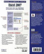 Mode d'emploi Excel 2007 - 4ème de couverture - Format classique