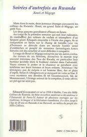Soirees D'Autrefois Au Rwanda ; Routi Et Migogo - 4ème de couverture - Format classique