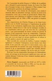 Corse ; chroniques d'une île déchirée, 1996-1999 - 4ème de couverture - Format classique