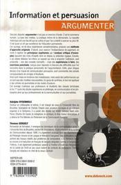 Information et persuasion : argumenter - 4ème de couverture - Format classique
