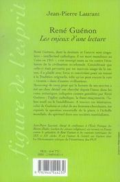 Rene Guenon : Les Enjeux D'Une Lecture - 4ème de couverture - Format classique