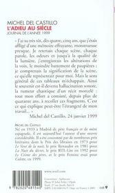 Adieu Au Siecle. Journal (1999) (L') - 4ème de couverture - Format classique