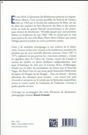 La quinzaine des réalisateurs ; les jeunes années ; 1967-1975 - 4ème de couverture - Format classique