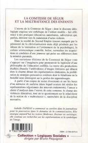 La Comtesse De Segur Et La Maltraitance Des Enfants - 4ème de couverture - Format classique
