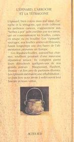 L'epinard, l'arroche et la tetragone - chroniques du potager - 4ème de couverture - Format classique