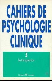 Cahiers de psychologie clinique 1995/2 - n.5 la tansgression - Couverture - Format classique