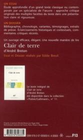 Clair de terre, d'André Breton - 4ème de couverture - Format classique