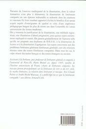 La Dissertation De Litterature Generale Et Comparee. - 4ème de couverture - Format classique