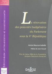 Renovation des pouvoirs budgetaires du parlement sous la ve republique - 1ere edition - Intérieur - Format classique