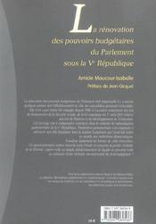 Renovation des pouvoirs budgetaires du parlement sous la ve republique - 1ere edition - 4ème de couverture - Format classique