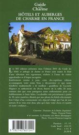 Guide des hotels et auberges de charme en france ; edition 2001 - 4ème de couverture - Format classique