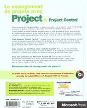 Management De Projets Avec Microsoft Project 2000 - 4ème de couverture - Format classique