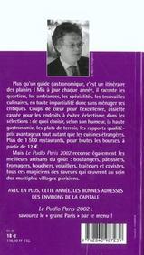 Le Pudlo Paris ; Edition 2002 - 4ème de couverture - Format classique