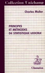 Principes Et Methodes De Statistique Lexicale - Couverture - Format classique