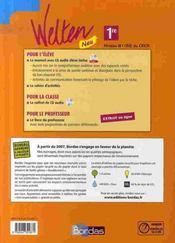 WELTEN NEU ; allemand ; 1ère ; manuel + cd audio ; nouveaux programmes B1/B2 (édition 2007) - 4ème de couverture - Format classique