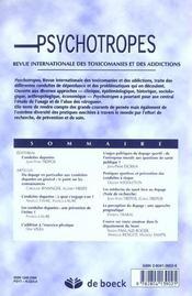 Revue Psychotropes N.8/3-4 ; Conduites Dopantes - 4ème de couverture - Format classique