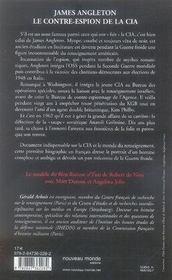 James angleton, le contre-espion de la CIA - 4ème de couverture - Format classique