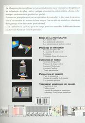 Formation labo. bases techniques du traitement d'image en laboratoire photo - 4ème de couverture - Format classique