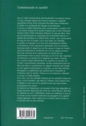 Communauté et société - 4ème de couverture - Format classique