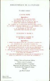 Romans t.3 ; casse-pipe ; Guignol's band - 4ème de couverture - Format classique