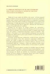 La Phrase Poetique De Blaise Cendrars. Structures Syntaxiques, Figures Du Discours, Agencements Ryt - 4ème de couverture - Format classique