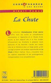Chute - Camus (La) - 4ème de couverture - Format classique