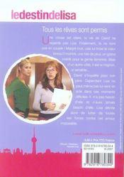 Le destin de Lisa t.5 - 4ème de couverture - Format classique