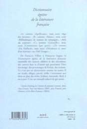 Dictionnaire Egoiste De La Litterature Francaise - 4ème de couverture - Format classique