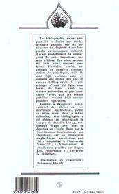 Bibliographie De La Critique Sur Les Litteratures Magh - 4ème de couverture - Format classique