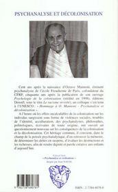 Psychanalyse Et Decolonisation ; Hommage A Octave Mannoni - 4ème de couverture - Format classique