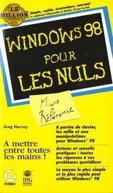 Windows 98 Micro Reference Pour Les Nuls - Intérieur - Format classique