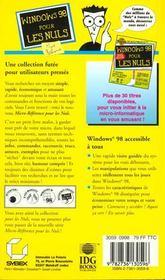 Windows 98 Micro Reference Pour Les Nuls - 4ème de couverture - Format classique