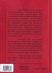 Code Du Travail ; 64e Edition - 4ème de couverture - Format classique