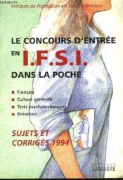 Concours D Entree En Ifsi 94 Dans La Poche - Couverture - Format classique
